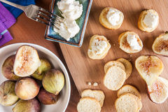 Goats cheese and figs Royalty Free Stock Image