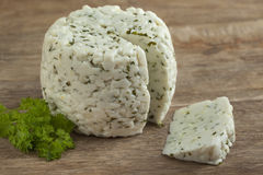 Goats cheese with green herbs Stock Photography