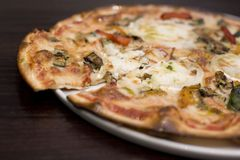 Goats cheese and roasted vegatable pizza Stock Image