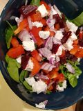goats cheese salad with spinach royalty free stock photos