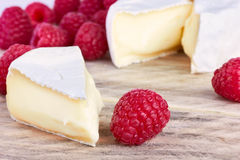 Goats cheeses with raspberry Stock Photo