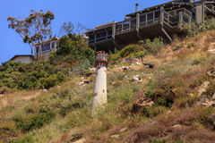 Goats cluster along a hillside with homes and a tower in Laguna Royalty Free Stock Photo