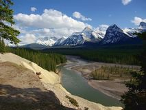 Goats and Glaciers Viewpoint overlooking Athabasca River Valley near Mount Fryatt, Jasper National Park, Alberta. Beautiful viewpoint along the Icefields Parkway stock photo