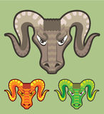 Goats Head Curled Horns Vector Stock Images