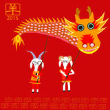 Goats holding the dragon to celebrate Chinese new year Stock Photo