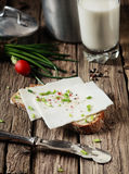 Goats milk cheese sandwich with herbs Stock Photography
