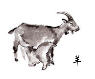 Goats oriental ink painting, sumi-e Stock Images