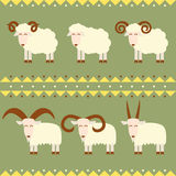 Goats and sheep with different horns vector illustration flat design. Goats and sheep with different horns vector illustration flat design Stock Photo