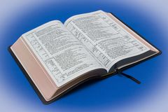 A goatskin leather bound Newberry version of the King James Bible. With gilt edged pages stock photography