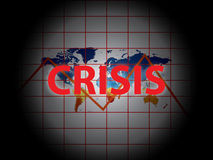 Global crisis. Word crisis in red superimposed on a global world map Stock Photography