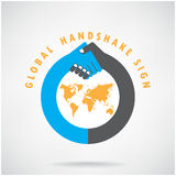 Gobal handshake sign and business concept. Stock Photo
