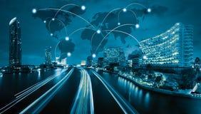 Gobal sieci wifi ikona, miasto sieć i głąbik związek co i Obraz Royalty Free
