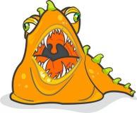 Gobble Monster. Orange slug-like monster. Vector illustration, fully scalable vector illustration