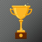 Gobelet d'or de champion sur le fond Dirigez l'illustration avec la tasse de récompense faite dans la conception plate simple Images libres de droits
