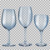 Gobelets en verre vides bleus transparents pour le vin Photo stock