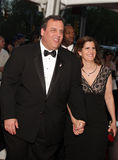 Gobernador Chris Christie con la palmadita Christie de Maria Fotos de archivo