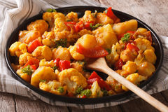 Gobi Aloo cauliflower and potatoes close up on a plate. horizont Stock Photo