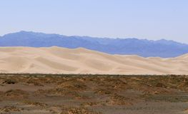 Gobi Desert landscape, Mongolia. Approaching the northernmost sand dunes of the Gobi Desert from southern Mongolia Royalty Free Stock Images
