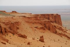 Gobi Desert, Mongolia. Looking out over the Flaming Cliffs and the red sands of the northern Gobi Desert, in Mongolia Royalty Free Stock Images