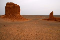 Gobi Desert, Mongolia. Weather-blown sandstone at the Flaming Cliffs, the northern Gobi Desert, in Mongolia Stock Photos