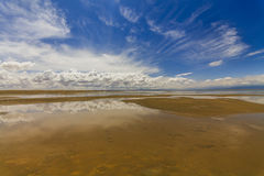 Gobi Desert after rain. Reflection of clouds Stock Photos