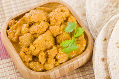 Gobi Masala. Cauliflower curry served with chapatis Stock Image