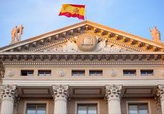 Gobierna Militar Builiding Barcelona. Classical Gobierna Militar Builiding, Military Government Building, Spanish Flag, Spanish Coat of Arms, Symbol, Barcelona Stock Photo