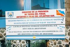 Gobierno de la Provincia de Tierra del Fuego Sign, Ushuaia, Arge foto de stock royalty free