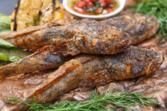 Gobio frito de los pescados con la salsa en un tablero de madera Fotos de archivo libres de regalías