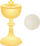 Goblet. Golden chalice and wafer with  cross Stock Photos