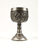 Goblet. Medieval goblet with old drawings placed on a white backgrounds Stock Photos