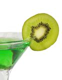Goblet of alchohol decorated by kiwi Stock Images