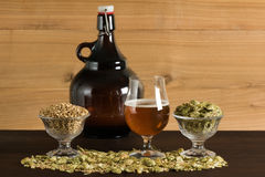 Goblet of beer, a growler, malts and hops Stock Image