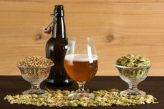 Goblet of beer, small growler, malts and hops Royalty Free Stock Photos