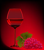 Goblet blame and branch of grape Royalty Free Stock Photography