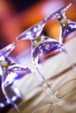 Goblet Glasses Upside Down Stock Photo