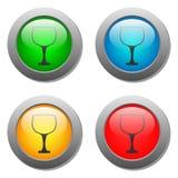 Goblet icon glass button set Stock Image