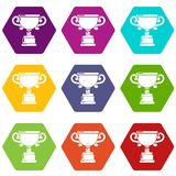 Goblet icons set 9 vector. Goblet icons 9 set coloful isolated on white for web Royalty Free Stock Images