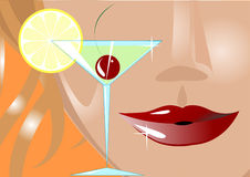 Goblet and lips Stock Photos