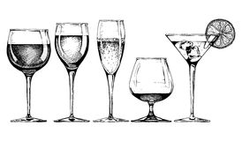Goblet set. Vector set of glasses goblets in ink hand drawn style.  on white Stock Image