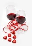goblets κόκκινο κρασί δύο Στοκ φωτογραφία με δικαίωμα ελεύθερης χρήσης