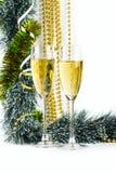 Goblets Χριστουγέννων με τα μπιχλιμπίδια Στοκ εικόνες με δικαίωμα ελεύθερης χρήσης