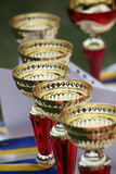 Goblets. Gold goblets for the champions royalty free stock photography