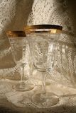 Goblets. Gold rimmed crystal wine goblets Royalty Free Stock Photos