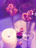 Goblets and candle Royalty Free Stock Image