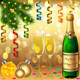 Goblets new year's balls scrap fir tree Royalty Free Stock Photos