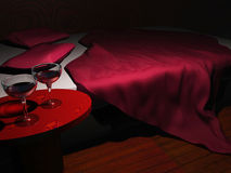 Goblets with wine. On background of the beds Stock Images