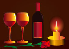 Goblets with wine rose Stock Photo