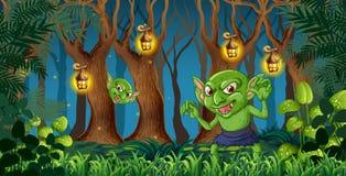 Goblin στο σκοτεινό δάσος ελεύθερη απεικόνιση δικαιώματος