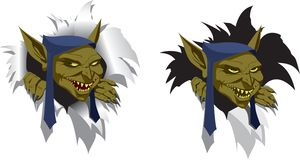 Goblin. Head of goblin looks out of torn paper, slyly smiling Royalty Free Stock Photography